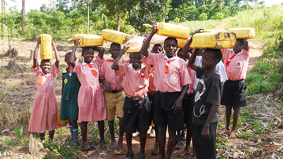 Children collecting water